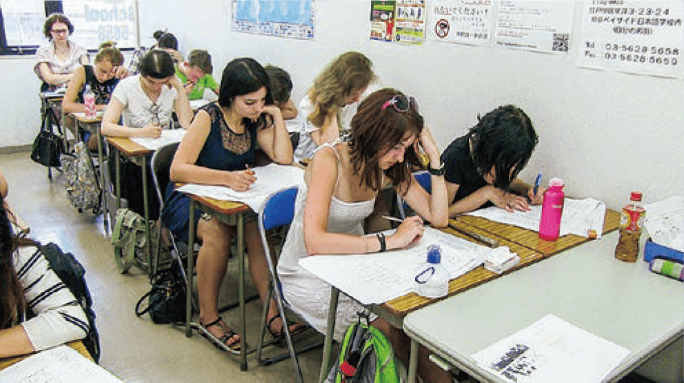 Study in class depending on own Japanese ability